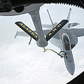 A Navy Fa-18f Super Hornet Is Refueled Print by Stocktrek Images