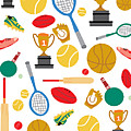 A Pattern Of Sports Equipment And Trophies Poster by Michelle Dybing