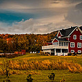 A Red Farmhouse in a Fallscape Poster by Chantal PhotoPix