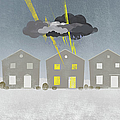 A Row Of Houses With A Storm Cloud Over One House Print by Jutta Kuss