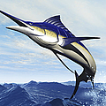 A Sleek Blue Marlin Bursts Poster by Corey Ford