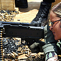 A Soldier Fires An M240b Medium Machine Print by Stocktrek Images