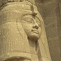 A Statue Of Nefertari At The Entrance Print by Richard Nowitz