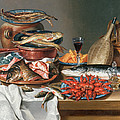 A Still Life of a Fish Trout and Baby Lobsters Poster by Anton Friedrich Harms