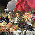 A Still Life of Game Birds and Numerous Fruits Poster by William Duffield