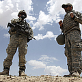 A U.s. Army Soldier Communicates Print by Stocktrek Images