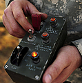 A U.s. Soldier Hits The Button Print by Stocktrek Images