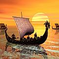 A viking ship on the move Poster by John Junek