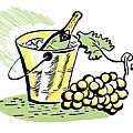 A Vintage Illustration Of A Bottle Of Wine And Fresh Grapes Print by Coco Flamingo