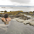 A Woman Enjoys A Hot Spring Print by Taylor S. Kennedy