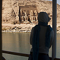 A Woman Watches The Temple Abu Simbel Print by Taylor S. Kennedy