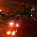 A Young Ringed Planet With Glowing Lava Poster by Frieso Hoevelkamp