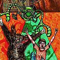 Aarron And Spacedog Chased By An Alien Poster by Al Goldfarb