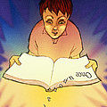 Abstract Artwork Of A Dyslexic Boy Reading A Book Print by David Gifford