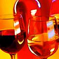 Abstract Bottle of Wine and Glasses of Red and White Poster by Elaine Plesser