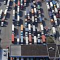 Aerial View of Semi Trucks At Port Poster by Don Mason