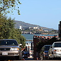 Alcatraz Island Through The Hyde Street Pier in San Francisco California . 7D13973 Print by Wingsdomain Art and Photography