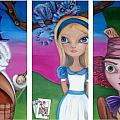 Alice in Wonderland Inspired Triptych Poster by Jaz Higgins