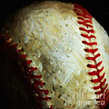 All American Pastime - Baseball - Square - Painterly Print by Wingsdomain Art and Photography