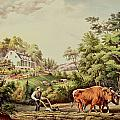 American Farm Scenes Print by Currier and Ives