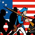 American revolutionary soldier marching Poster by Aloysius Patrimonio