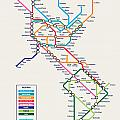 Americas Metro Map Poster by Michael Tompsett