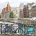 Amsterdam canal and bikes Poster by Giancarlo Liguori