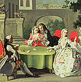 An Ornamental Garden with Elegant Figures Seated Around a Card Table Poster by Filippo Falciatore