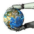 Android Holding The Earth Poster by Friedrich Saurer