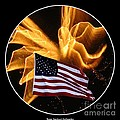Angel Fireworks and American Flag Print by Rose Santuci-Sofranko