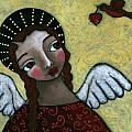 Angel with Bird of Peace Print by Julie-ann Bowden