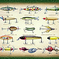 Antique Lures Green Crackle Print by JQ Licensing