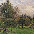 Apple Trees and Poplars in the Setting Sun Poster by Camille Pissarro