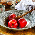 Apples in a Silver Bowl Print by Susan Savad
