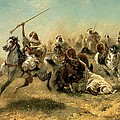 Arab Horsemen on the attack Poster by Adolf Schreyer