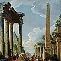 Architectural Capriccio with a Preacher in the Ruins Poster by Giovanni Paolo Pannini or Panini