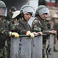 Argentine Marines Dressed In Riot Gear Poster by Stocktrek Images