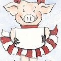 Arkansas Razorback Cheer Piggy Poster by Annie Laurie