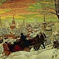 Arriving for the Holidays Print by Boris Mihajlovic Kustodiev