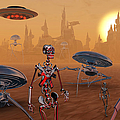 Artists Concept Of Life On Mars Long Print by Mark Stevenson