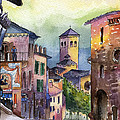 Assisi Street Scene Poster by Lydia Irving