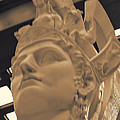 Athena Sculpture Sepia Print by Linda Phelps
