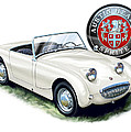 Austin Healey Bug Eye White Poster by David Kyte