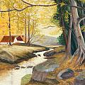 Autumn Brook Print by James Geddes
