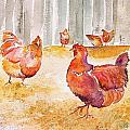 Autumn Hens Print by Carolyn Doe