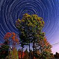 Autumn Star Trails in New Hampshire Poster by Larry Landolfi