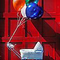 Baby buggy with balloons  Print by Garry Gay