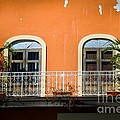 Balcony With Palms Poster by Perry Webster