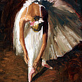 Ballerina with pink shoes Print by Roelof Rossouw