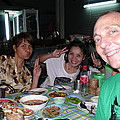 Bangkok Sidewalk Dinner with Spicy Friends Print by Gregory Smith